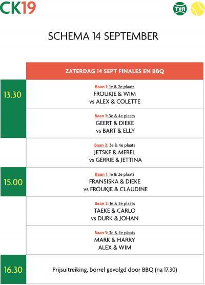 Speelschema finaledag tennis Akkrum bekend